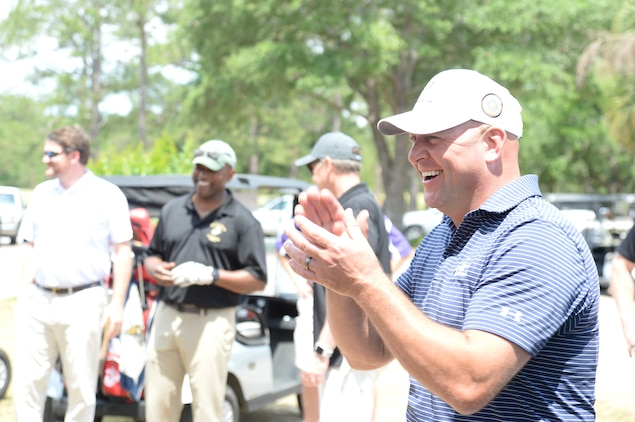 The Marine Corps teams victoriously squared off against the Albany Area Chamber of Commerce teams in the Spring match-up of the biannual Salty Sandbagger Golf Tournament held at River Pointe Golf Club, April 25.
