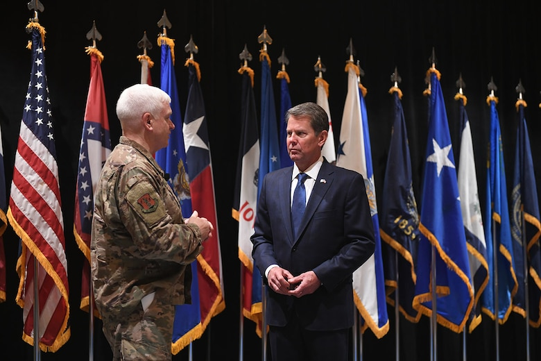 U.S. Air Force Lt. Gen. L. Scott Rice, director of the Air National Guard, greets Georgia Governor Brian Kemp, at the 2019 Air National Guard Senior Leadership Conference, April 23, 2019, in Atlanta, Georgia.