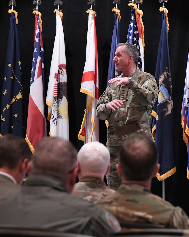 Chief of Staff of the Air Force, General David L. Goldfein shares Air Force updates with Air National Guard senior leadership at the ANG Senior Leadership Conference, 23 April 2019, in Atlanta, Georgia.