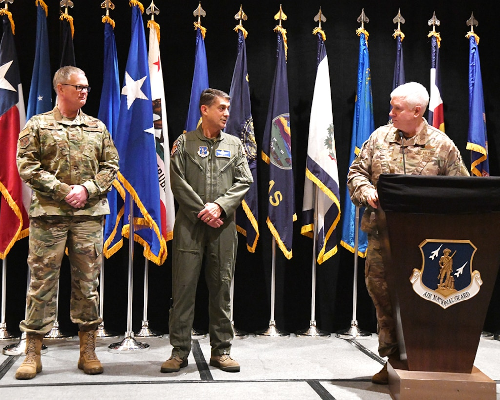 Lt. Gen. L. Scott Rice, Director, Air National Guard took time during the 2019 Air National Guard Senior Leadership Conference, 23 Apr. 2019, to acknowledge the Kentucky leadership for the extraordinary achievements of Major John T. Hourigan, from the 123d Airlift Wing, who will be awarded the Distinguished Flying Cross.