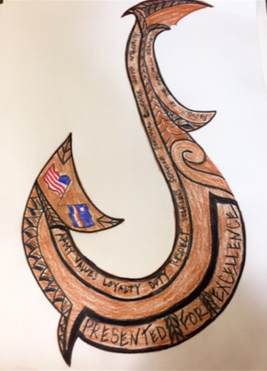 In November 2018 the Commander of U.S. Army Garrison-Kwajalein Atoll Col. James DeOre initiated a request and provided initial guidance for the design a new Commander's Coin design.  Kara M. Larson, who works for the U.S. Army Corps of Engineers-Honolulu District remotely as a project manager forward with customers in Kwajalein, took on the challenge.  Little did she know that her interest in creating a new design would later take on a unique twist.  Shown here is the front side design of the coin created by Kara Larson.