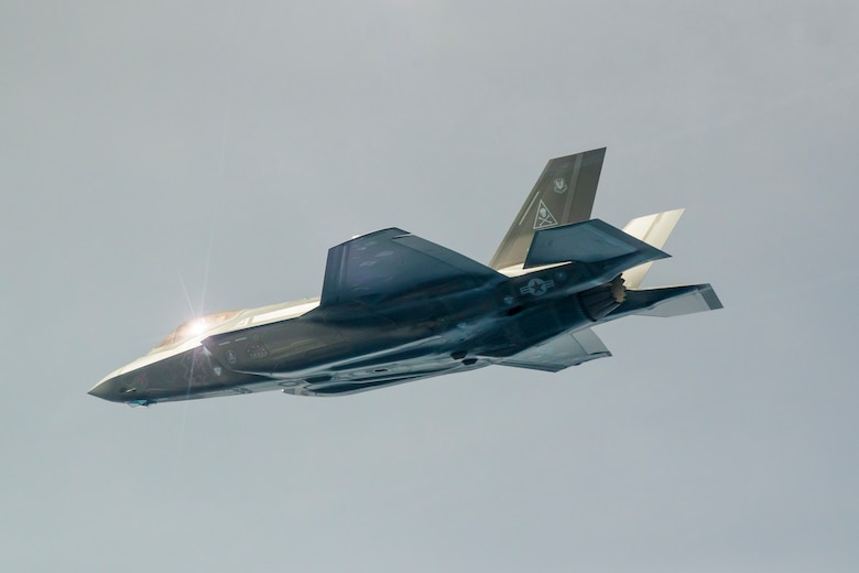 An F-35 Lightning II conduct the first operational live-fire test of AIM-120 missiles released from an internal weapons storage bay over a controlled sea test range in the Pacific Ocean. The 412th Test Wing recently published the technical report on the F-35 Automatic Ground and Collision Avoidance System and have recommended it for fielding; seven years ahead of schedule. (U.S. Air Force photo by Christopher Okula)