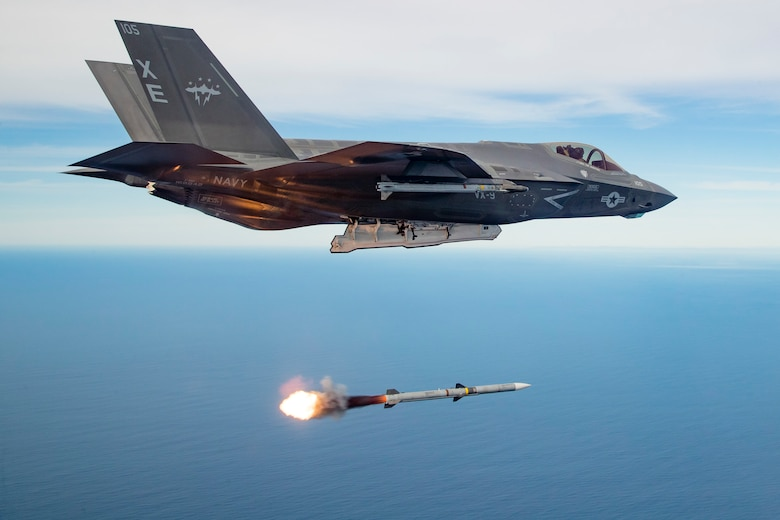 An F-35 Lightning II launches an AIM-120 missile released from an internal weapons storage bay over a controlled sea test range in the Pacific Ocean.The 412th Test Wing recently published the technical report on the F-35 Automatic Ground and Collision Avoidance System and have recommended it for fielding; seven years ahead of schedule. (U.S. Air Force photo by Christopher Okula)