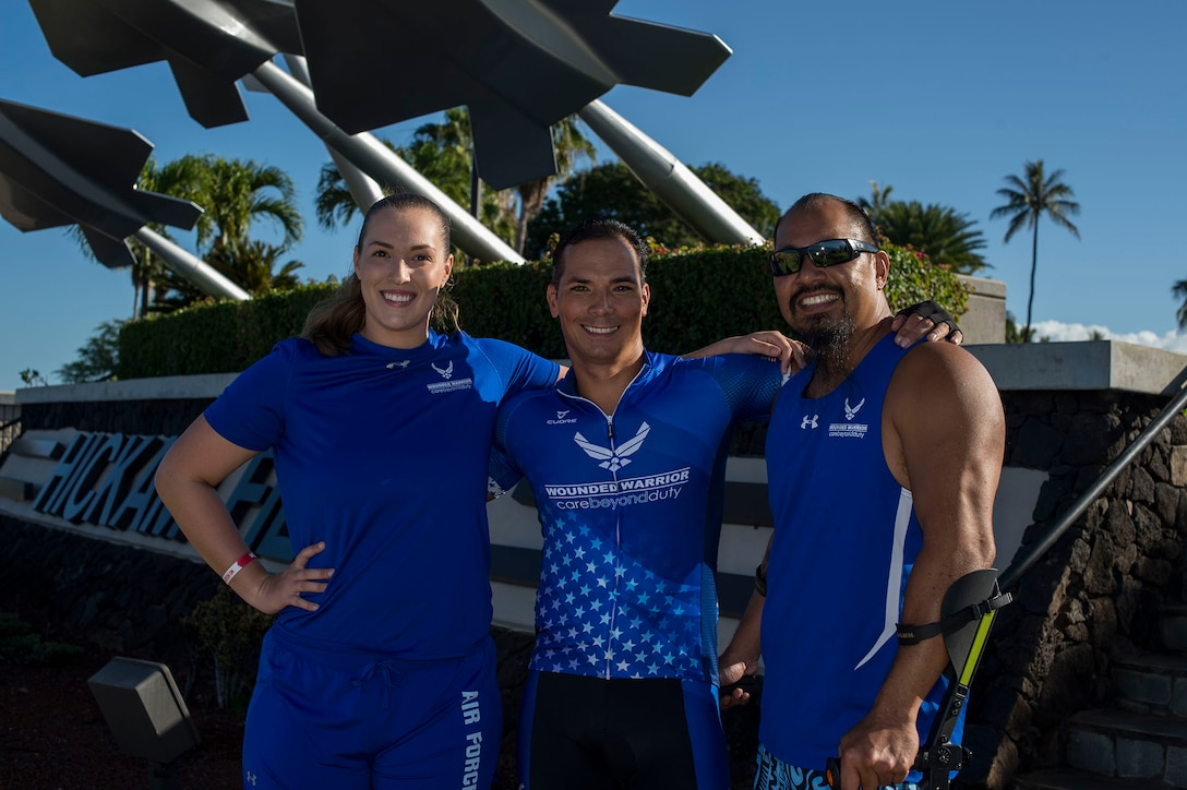 Senior Airman Faith Donato, Master Sgt. Roger Hopkins, and retired Chief Master Sgt. Garrett Kuwada will all represent Pacific Air Forces at the Wounded Warrior Games held this summer in Tampa, Florida. This is the first time any Airmen from Hickam have competed in the games. Kuwada will also be the torch bearer for the games. (U.S. Air Force photo by Tech. Sgt. Heather Redman)