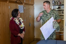 U.S. Sen. Mazie K. Hirono (D-HI) is shown a barracks room by U.S. Navy Cmdr. William Wohead, facilities director, Marine Corps Base Hawaii (MCBH), during a tour of MCBH, Apr. 26, 2019. Sen. Mazie K. Hirono toured the installation's barracks and commissary to gain a better understanding of current and future military construction projects. (U.S. Marine Corps photo by Sgt. Jesus Sepulveda Torres)