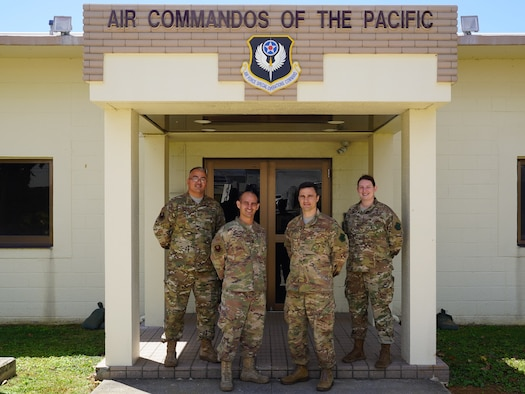 Seen here are U.S. Air Force Capt. Vincent Colletti, 353rd SOG comptroller, Master Sgt. Michael Duchesne, 353rd SOG FM flight chief, Master Sgt. Chad Sontag, 353rd SOG FM superintendent, and Staff Sgt. Lindsey Vaillancourt, 353rd SOG FM financial analyst.