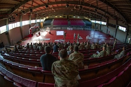 Service members from across the nation receive a brief at Ponce, Puerto Rico, April 26, 2019, during Innovative Readiness Training Puerto Rico. Marine Forces Reserve Sailors are working jointly with several National Guard and Reserve units from across the nation to provide medical care in Puerto Rico during a two-week medical exercise.