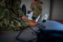 A Sailor conducts an equipment check at Ponce, Puerto Rico, April 26, 2019, during Innovative Readiness Training Puerto Rico. Marine Forces Reserve Sailors are working jointly with several National Guard and Reserve units from across the nation to provide medical care in Puerto Rico during a two-week medical exercise.