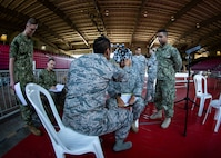 Service members practice the procedures of receiving patients at the optometry station at Ponce, Puerto Rico, April 26, 2019, during Innovative Readiness Training Puerto Rico. Marine Forces Reserve Sailors are working jointly with several National Guard and Reserve units from across the nation to provide medical care in Puerto Rico during a two-week medical exercise.