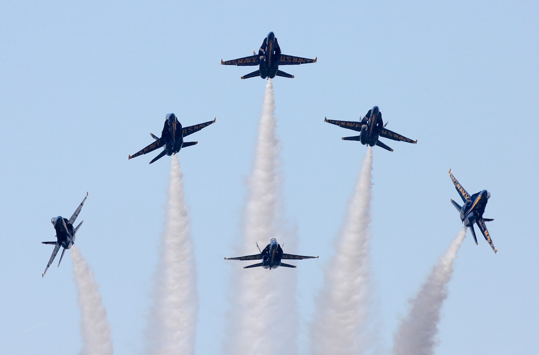 The U.S. Navy Flight Demonstration Squadron, the Blue Angels, perform during the Marine Corps Air Station Beaufort Air Show, April 27. MCAS Beaufort hosts the air show in order to bring the community together and demonstrate U.S. Marine Corps Aviation Combat Element and Marine Air-Ground Task Force capabilities.