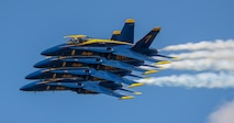 The U.S. Navy Flight Demonstration Squadron, the Blue Angels, perform during the Marine Corps Air Station Beaufort hosts the air show in order to bring the community together and demonstrate U.S. Marine Corps Aviation Combat Element and Marine Air-Ground Task Force capabilities.