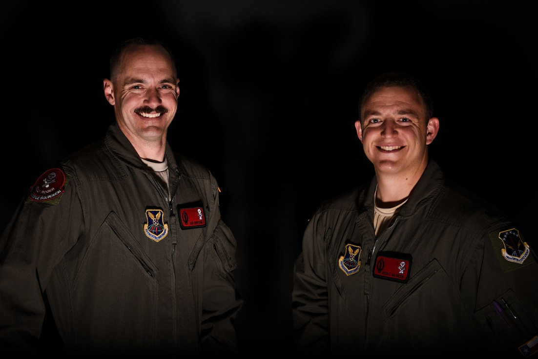 1st Lt. Jedediah Simpson, 320 Missile Squadron missilieer, and 1st Lt. Austin Van Hoesen, 320 MS assitant flight commander, pose for photos on F.E. Warren Air Force Base, Wyoming, April 25, 2019. The Air Force Association awarded Van Hoesen and Simpson, 320 MS missiler, the 2019 Gen. Thomas S. Power Outstanding Missile Crew Award. (U.S. Air Force photo by Joseph Coslett)