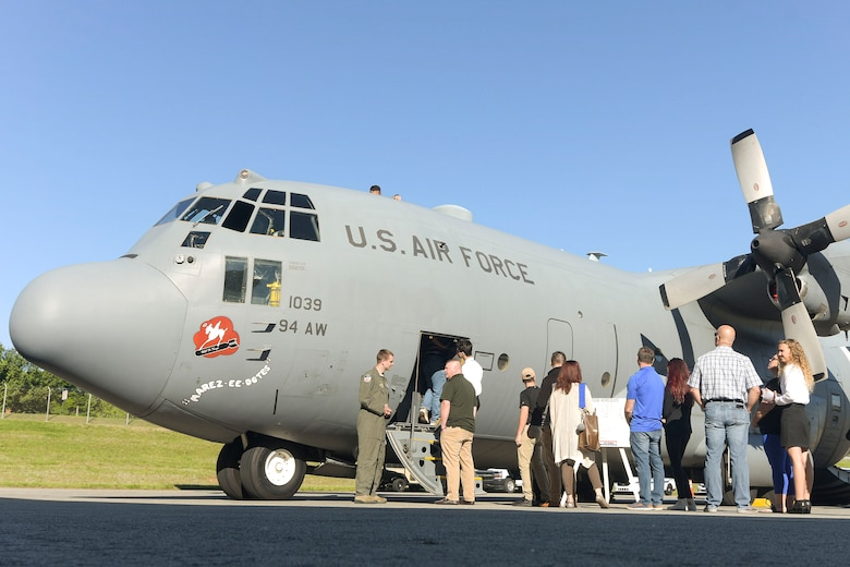 Students and their parents tour a C-130 Hercules aircraft at Dobbins Air Reserve Base, Ga. on April 27, 2019. Students visited Dobbins while attending Academy Day, an annual event where United States service academies and congressional representatives visit so that students can learn about the academies and obtain congressional recommendations (U.S. Air Force photo by Tech. Sgt.  Miles Wilson)