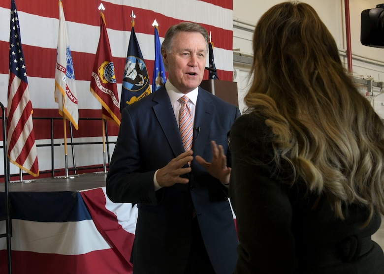 U.S. Sen. David Perdue speaks with a media team about Academy Day at Dobbins Air Reserve Base, Ga. on April 27, 2019. Academy Day is an annual event hosted at Dobbins that allows students to interact with congressional and U.S. service academy representatives. (U.S. Air Force photo by Tech. Sgt.  Miles Wilson)