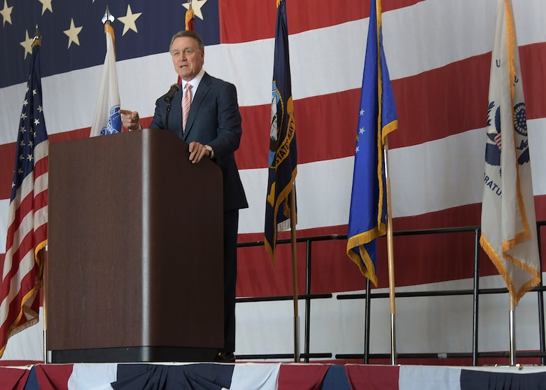 U.S. Sen. David Perdue speaks to students and parents about the importance of the U.S. military, and the U.S. service academies during Academy Day at Dobbins Air Reserve Base, Ga. on April 27, 2019. Academy Day is an annual event hosted at Dobbins that allows students to interact with congressional and U.S. service academy representatives. (U.S. Air Force photo by Tech. Sgt.  Miles Wilson)