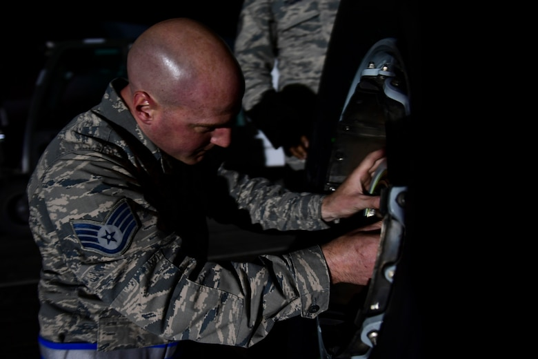Staff Sgt. David Barbieri, crew chief with the 911th Aircraft Maintenance Squadron, prepares a tire to be mounted on a C-17 Globemaster III during a thru-flight inspection at the Pittsburgh International Airport Air Reserve Station, Pennsylvania, April 16, 2019.