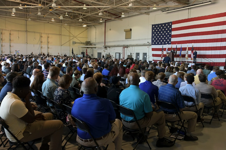 Nearly one thousand students and parents listen as U.S. service academy representatives and students talk about life attending a service academy at Dobbins Air Reserve Base, Ga. on April 27, 2019. Academy Day is an annual event hosted at Dobbins that allows students to interact with congressional and U.S. service academy representatives. (U.S. Air Force photo by Tech. Sgt.  Miles Wilson)