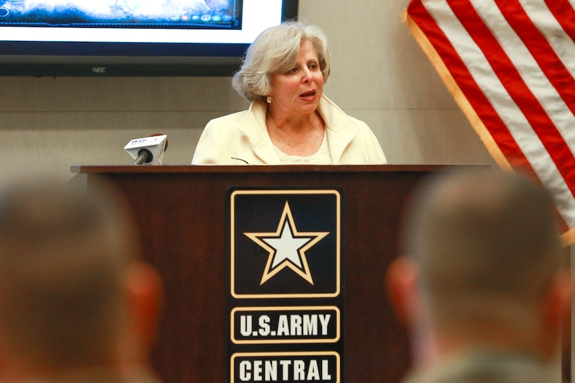 Dr. Lilly Stern Filler, chair of the South Carolina Council on the Holocaust and the ceremony guest speaker, addresses the audience during the Days of Remembrance observance ceremony at USARCENT headquarters on Shaw Air Force Base, S.C., April 24, 2019. Congress established the Days of Remembrance as the nation's annual commemoration of the Holocaust.