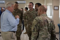 U.S. Rep. Collin Peterson, House Agriculture Committee chairman, speaks with Joint Task Force - Bravo leadership during a region visit, April 27, 2019, at Soto Cano Air Base, Honduras. The delegates visited U.S. allies in Central and South America to update members of congress on the regional stability and preserve relationships in the area. (U.S. Air Force photo by Staff Sgt. Eric Summers Jr.)