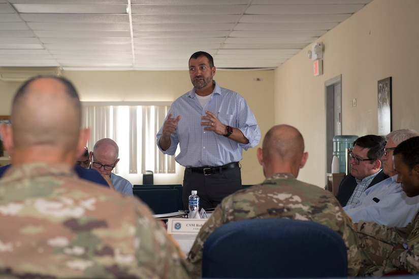 Fernando Cossich, U.S. Agency for International Development director at the U.S. Embassy in Honduras, explains the impact USAID to the country to congressional delegates touring the region, April 27, 2019, at Soto Cano Air Base, Honduras. The delegates visited U.S. allies in Central and South America to update members of congress on the regional stability and preserve relationships in the area. (U.S. Air Force photo by Staff Sgt. Eric Summers Jr.)
