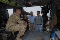 U.S. Army Staff Sgt. Gilbert Venzor, 1st Battalion 228th Aviation Regiment medic, explains the layout and operations of a UH-60 Black Hawk to U.S. congressional delegate members, April 27, 2019, at Soto Cano Air Base, Honduras. The delegates visited U.S. allies in Central and South America to update members of congress on the regional stability and preserve relationships in the area. (U.S. Air Force photo by Staff Sgt. Eric Summers Jr.)