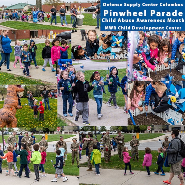 Collage of photos from the Pinwheel Parade