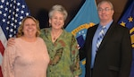 Susanne McHale, Susan Paul and Michael Newell, pictured left to right, pose after a retirement ceremony in their honor at DLA Troop Support in Philadelphia April 25, 2019.
