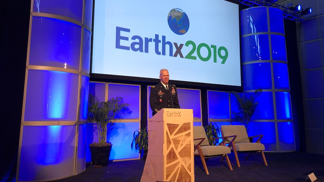 Brig. Gen. Paul Owen discusses the Corps of Engineer's role in environmental sustainability and disaster recovery and resilience at an EarthXMilitary conference for the national defense industry, military personnel, policy makers, and business leaders in Dallas, Texas on April 27, 2019.