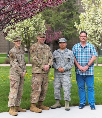 Members from the Unaccompanied Housing management team walks through the dormitory campus on Mountain Home Air Force Base April 24, 2019. They do walkthroughs daily to inspect living conditions and ensure Airmen maintain a good quality of life.