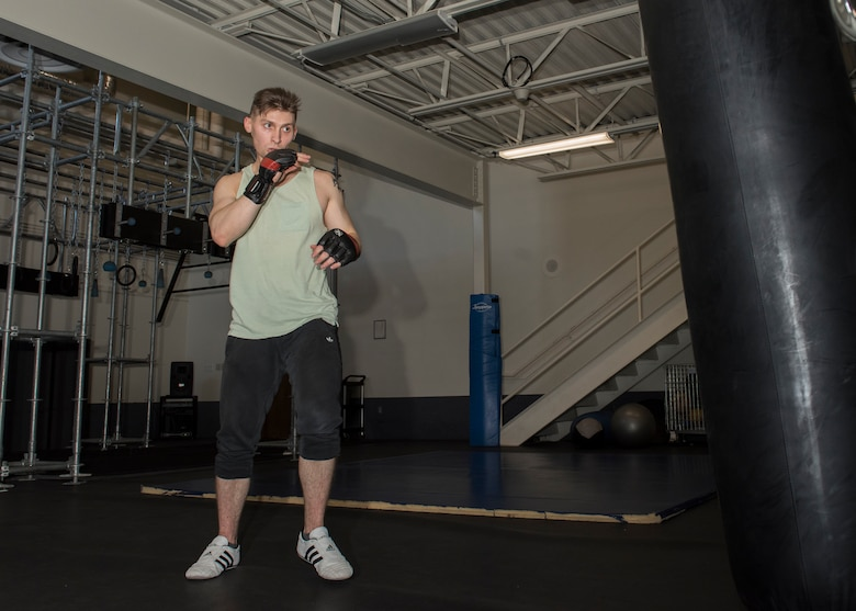 Senior Airman Tyler Flood, 366 CS, practices martial arts, March 4, 2019. Flood uses his training to keep himself mentally focused and in shape. (U.S. Air Force photo by Senior Airman Tyrell Hall)