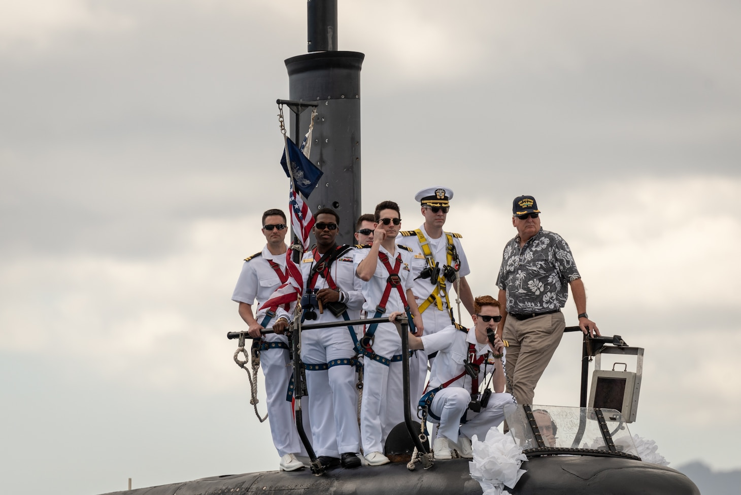 PEARL HARBOR -- Los Angeles-Class fast-attack submarine USS Cheyenne (SSN 773) and its crew arrive at Joint Base Pearl Harbor-Hickam, after completing their latest deployment, April 26. (U.S. Navy Photo by Mass Communication Specialist 1st Class Daniel Hinton)