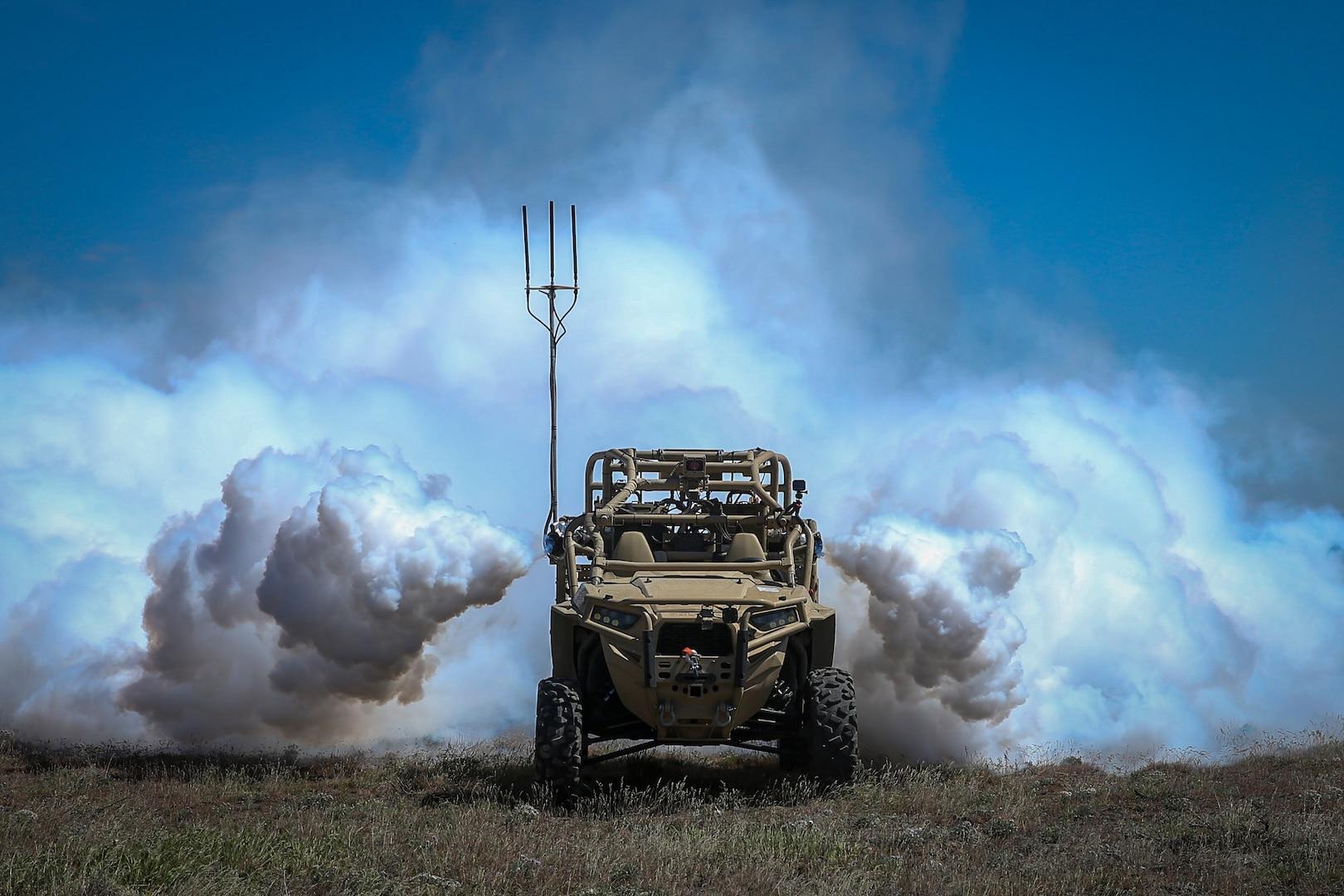 Screening Obscuration Module attached to Utility Task Vehicle activates autonomously during Robotic Complex Breach Concept on Yakima Training Center, Yakima, Washington, April 26, 2019 (U.S. Marine Corps/Nathaniel Q. Hamilton)