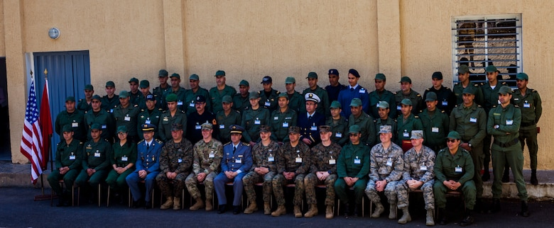 Members of the Moroccan Royal Armed Forces train alongside U.S. Marines with Special Purpose Marine Air-Ground Task Force-Crisis Response-Africa 19.2, Marine Forces Europe and Africa, during Humanitarian Mine Action training at Unite de Secours et Sauvetage's Base, Kenitra, Morocco, April 25, 2019. The training shows how to identify and properly dispose of explosive ordnance. SPMAGTF-CR-AF is deployed to conduct crisis-response and theater-security operations in Africa and promote regional stability by conducting military-to-military training exercises throughout Europe and Africa. (U.S. Marine Corps photo by Capt. Clay Groover)