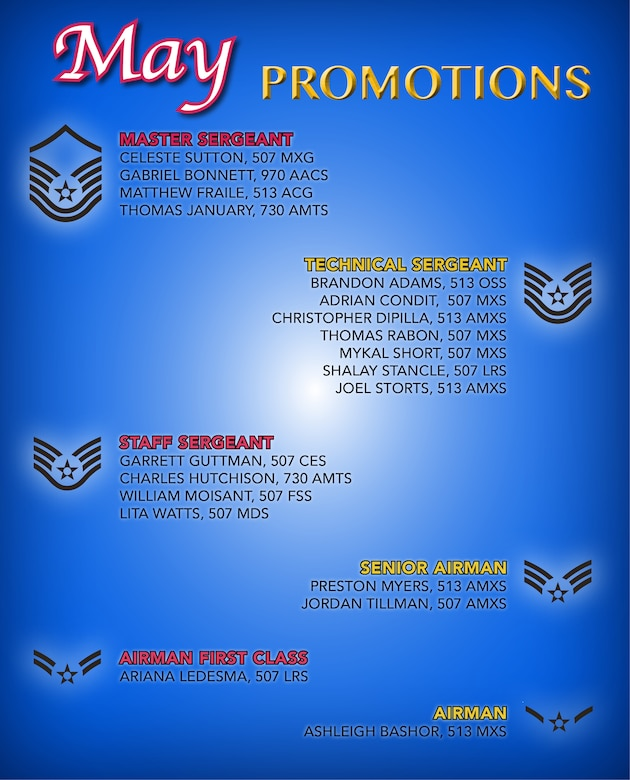 507th ARW May enlisted promotions > 507th Air Refueling Wing
