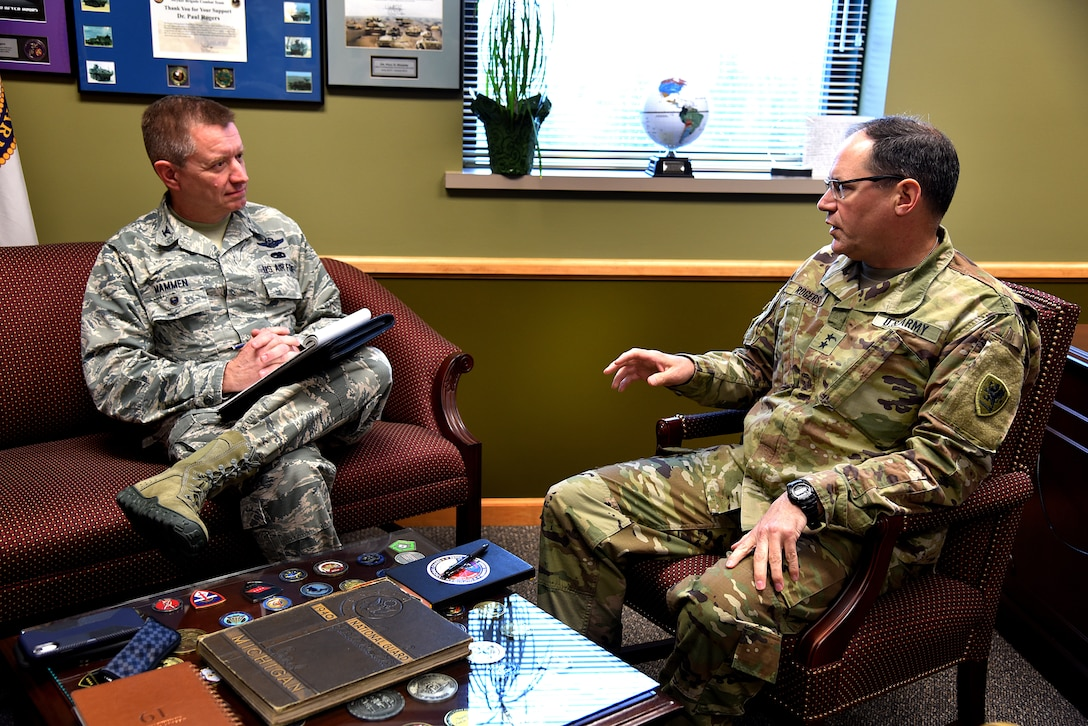 Michigan Air National Guard Col. Rolf E. Mammen discusses the future of the 127th Wing and Selfridge Air National Guard base with Maj. Gen. Paul Rogers, Adjutant General and Director of the Department of Military and Veterans Affairs on April 29, 2019, at Joint Force Headquarters in Lansing, Michigan.