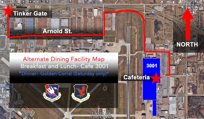 Reservists at Tinker Air Force Base, Oklahoma, will dine at Cafe 3001 for breakfast and lunch, and at Golden Corral for dinner on Saturdays until the reopening of the Vanwey Dining Facility. (U.S. Air Force image by Lauren Gleason)