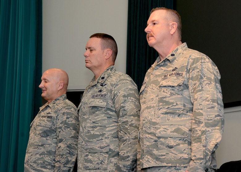 Lt. Col. Darryl McLean stands at attention, Feb. 10, 2019, during the 72nd Aerial Port Squadron change of command ceremony at Tinker Air Force Base, Oklahoma. (U.S. Air Force photo by Tech. Sgt. Samantha Mathison)