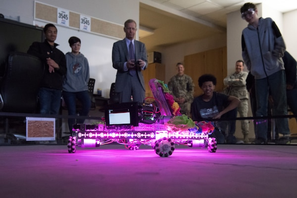 Frank Brogan, Department of Education assistant secretary for elementary and secondary education, visits Lackland Independent School District's Bots in Blue and drives one of their robots April 12, 2019, at Joint Base San Antonio-Lackland, Texas.