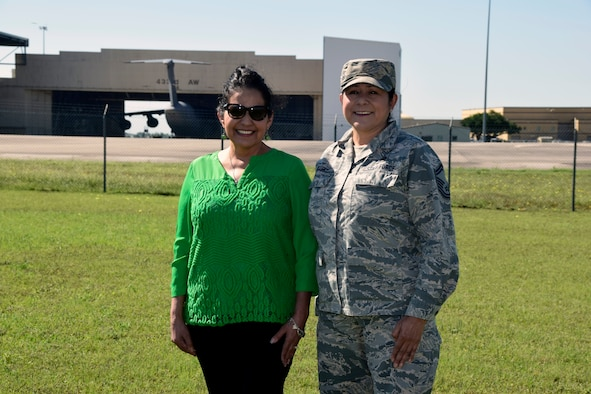 Senior Master Sgt. Carol A. Allen, 433rd Force Support Squadron Sustainment Flight superintendent, takes a moment with her sister, Yvonne Hernandez at Joint Base San Antonio-Lackland, Texas April 26, 2019.
