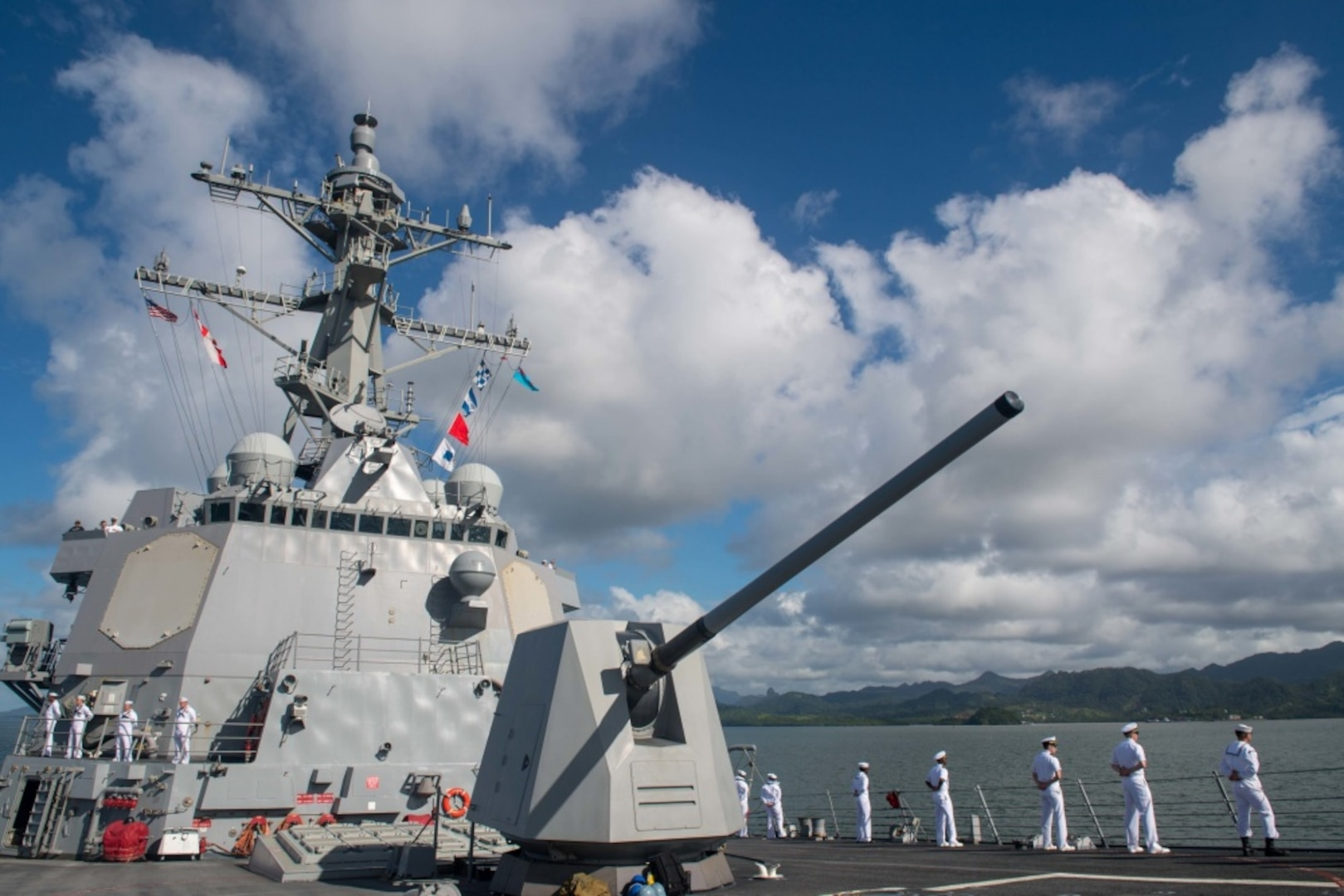 SUVA, Fiji (April 30, 2019) Sailors man the rails as the guided-missile destroyer USS Stockdale (DDG 106) arrives in Suva for a port visit. Stockdale is deployed to the U.S. 7th Fleet area of operations in support of security and stability in the Indo-Pacific region. (U.S. Navy photo by Mass Communication Specialist 2nd Class Abigayle Lutz)