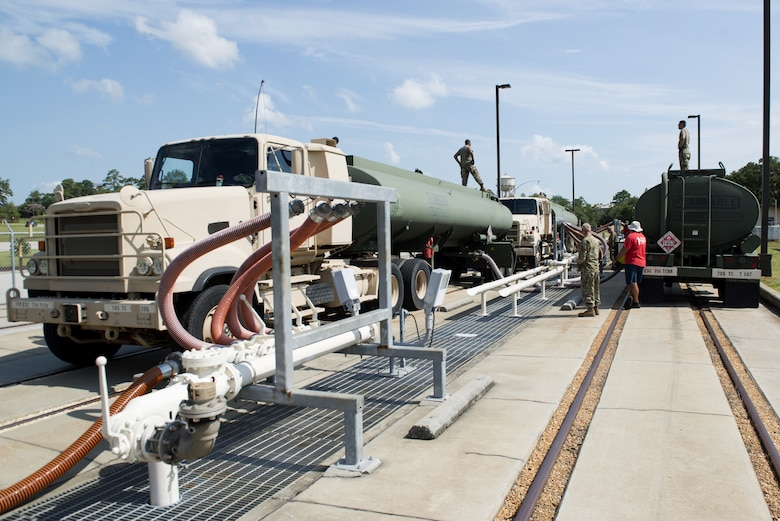 U.S. Army Soldiers assigned to the 705th Company, 318th Battalion, and contracted workers pump fuel at Shaw Air Force Base, South Carolina, July 26, 2019.