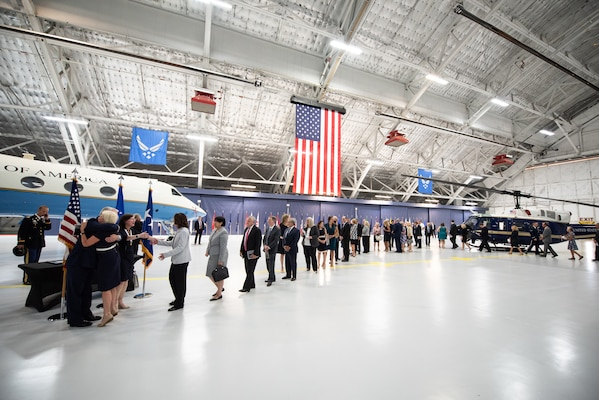 Friends, family, and former co-workers wait to personally congratulate Air Force Gen. Paul J. Selva, vice chairman of the Joint Chiefs of Staff, and his wife Mrs. Ricki after a retirement ceremony hosted by Marine Corps Gen. Joe Dunford, chairman of the Joint Chiefs of Staff, at Hanger 3, Joint Base Andrews, Md., July 31, 2019. Gen. Selva retired after over 39 years of service.