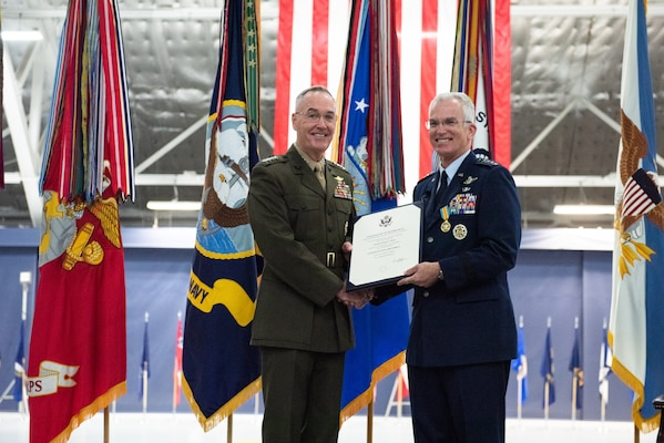 Air Force Gen. Paul J. Selva, vice chairman of the Joint Chiefs of Staff, poses with his Certificate of Retirement during the retirement ceremony hosted by Marine Corps Gen. Joe Dunford, chairman of the Joint Chiefs of Staff, at Hanger 3, Joint Base Andrews, Md., July 31, 2019. Gen. Selva retires after over 39 years of service.