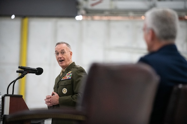 Marine Corps Gen. Joe Dunford, chairman of the Joint Chiefs of Staff, speaks about the career and qualities of Air Force Gen. Paul J. Selva, vice chairman of the Joint Chiefs of Staff, as Gen. Selva retires in a ceremony at Hanger 3, Joint Base Andrews, Md., July 31, 2019. Gen. Selva retires after over 39 years of service.