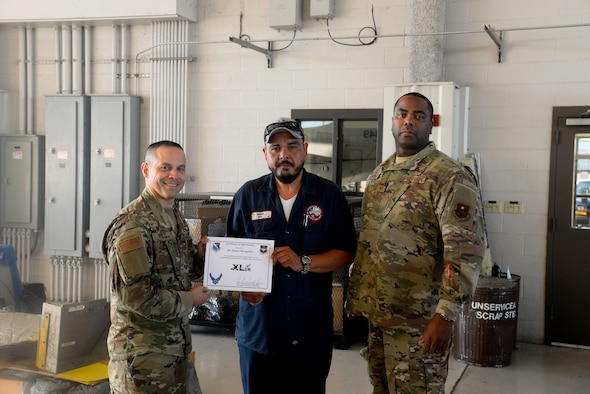"Danny Hernandez, a 47th Maintenance Directorate aircraft mechanic, was chosen by wing leadership to be the ""XLer of the Week"", for the week of July 22, 2019, at Laughlin Air Force Base, Texas. The ""XLer of the Week"" award, presented by Col. Lee Gentile, the 47th Flying Training Wing commander, and Chief Master Sgt. Robert Zackery III, the 47 FTW command chief master sergeant, is given to those who consistently make outstanding contributions to their unit and the Laughlin mission. (U.S. Air Force photo by Senior Airman John A. Crawford)"