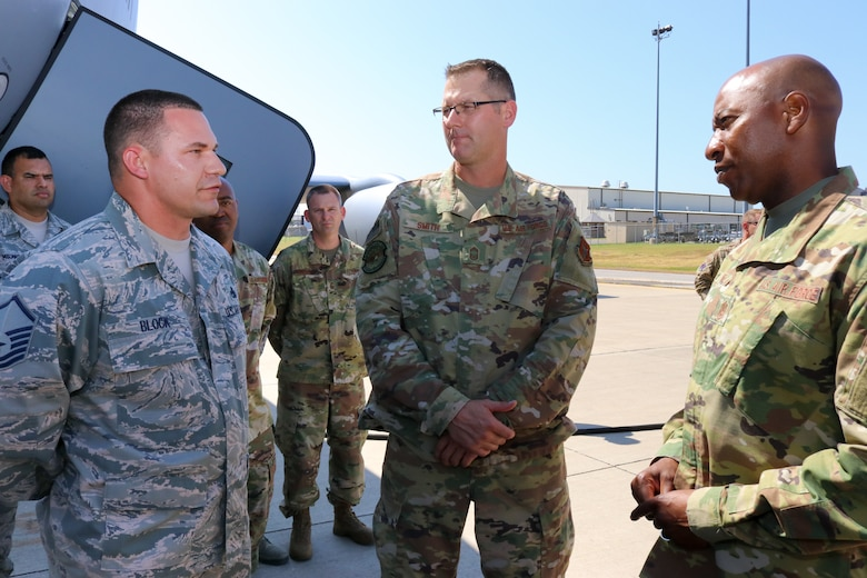 Chief Master Sgt. of the Air Force Kaleth O. Wright speaks to Master Sgt. Brad Block, an aircraft maintenance supervisor, during his visit to the 507th Air Refueling Wing, Tinker Air Force Base, Oklahoma, July 31, 2019. (U.S. Air Force photo by Senior Airman Mary Begy)