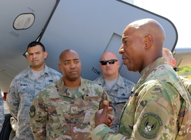 Chief Master Sgt. of the Air Force Kaleth O. Wright visits the 507th Air Refueling Wing, July 31, 2019 at Tinker Air Force Base, Oklahoma. Wright met with wing leadership to discuss total force integration as well as to meet the Airman of the 507th ARW. (U.S. Air Force photo by Senior Airman Mary Begy)