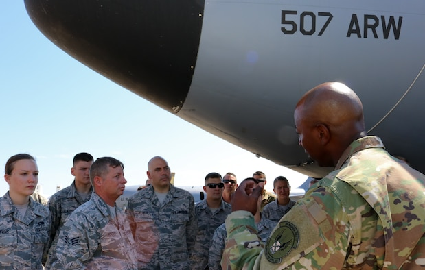 Chief Master Sgt. of the Air Force Kaleth O. Wright visits the 507th Air Refueling Wing, Tinker Air Force Base, Oklahoma, July 31, 2019. Wright discussed total force integration with the Reserve Citizen Airmen of the 507th ARW. (U.S. Air Force photo by Senior Airman Mary Begy)
