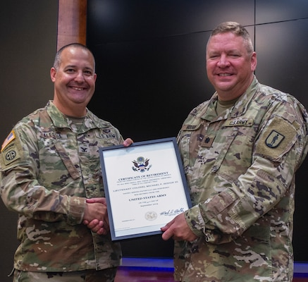 Certificate of Retirement presented to Lt. Col. Michael Hough