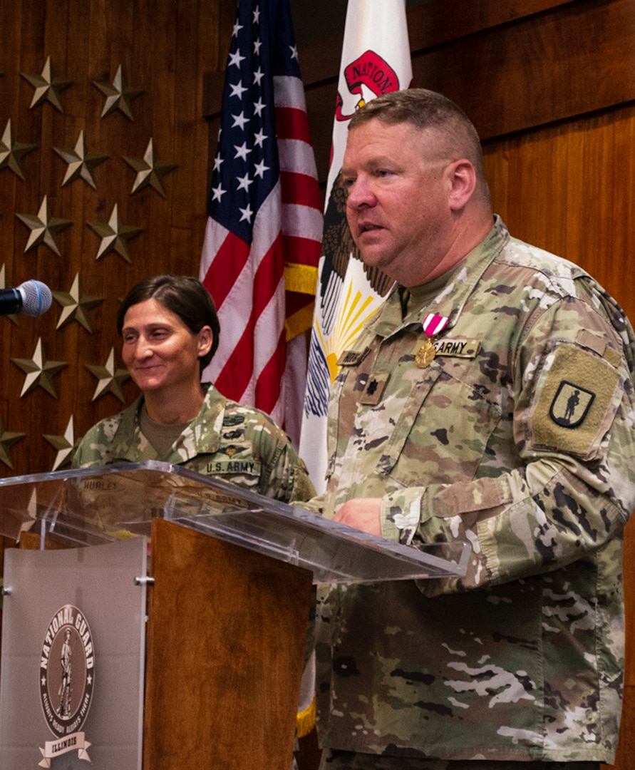Lt. Col. Michael Hough thanks his friends and family who attended his retirement ceremony.